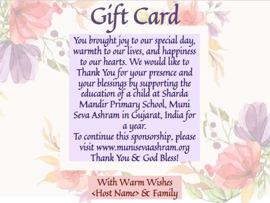 The Gift of Giving >> Muni Seva Ashram